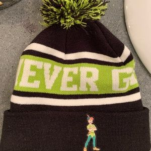 "Peter Pan ""Never Grow Up"" Pom Beanie NWOT"